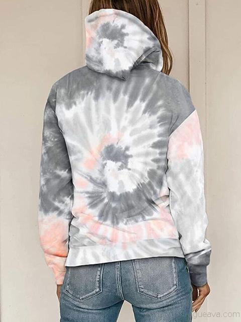 Tie-dye Print Hooded Sweatshirt With Pocket