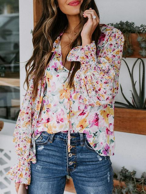Boho Floral Print V Neck Long Sleeve Tops