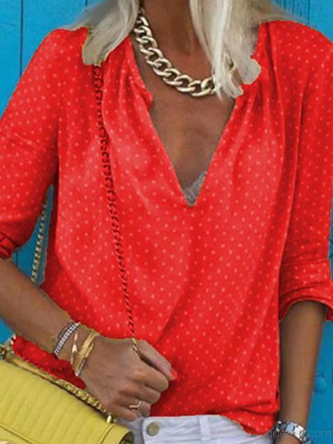 Dot Print V-neck Loose Top