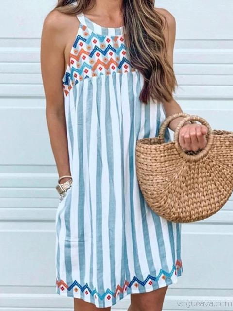 Stripe Embroidery Hanging Neck Dress