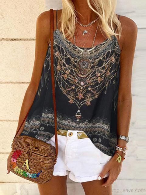 Bohemia Print Sleeveless Tops