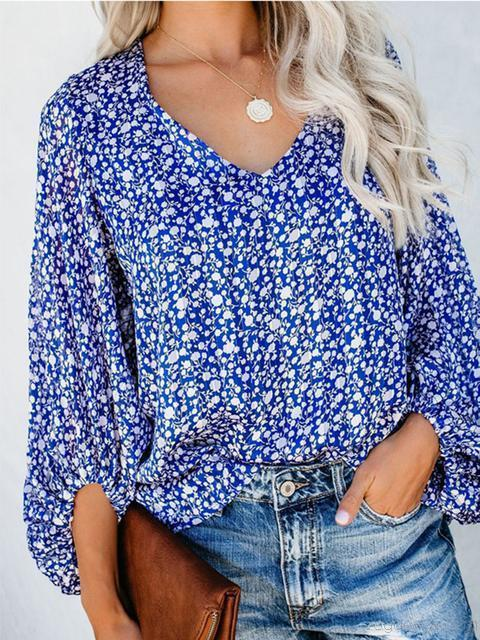 Casual Lantern Sleeve Printed Top