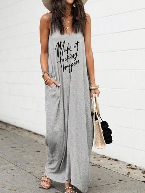 Casual Letter Print Loose Long Dress