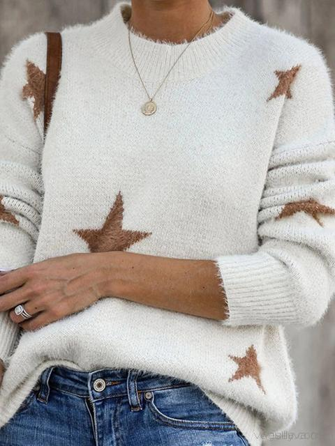 Star Print Pullover Sweater