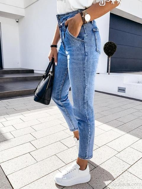 Washed High Waist Denim Trousers
