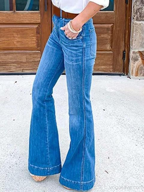 Slim Broad-Legged Denim Pants
