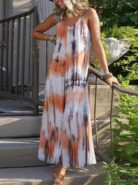 Tie Dye Printing Casual Maxi Suspender Dress