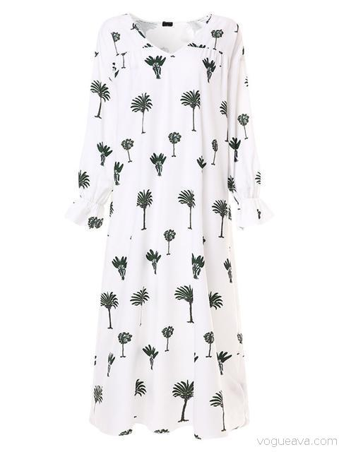 Plant Print Mid Sleeved Maxi Dress