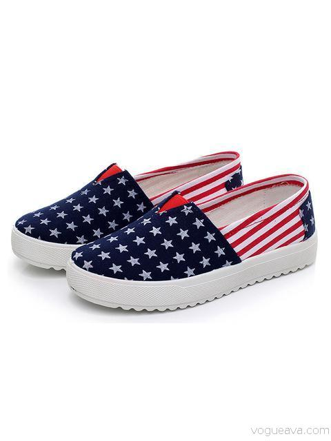 Flag Print Comfortable Flat Shoes