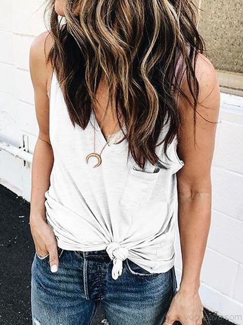 Solid Color V-neck Pocket Tank Tops