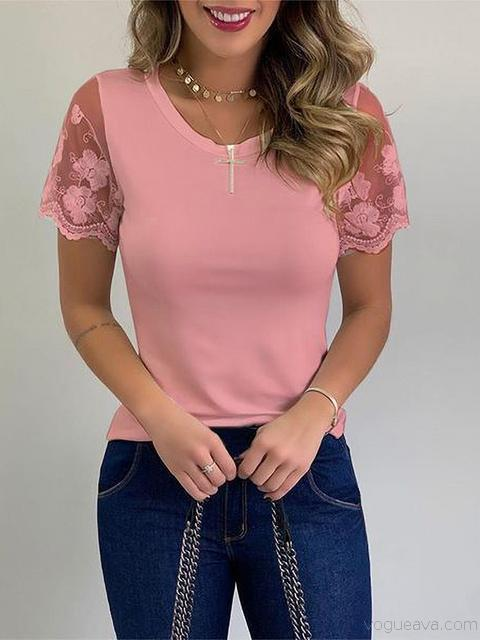 Lace Short Sleeve Casual Tops