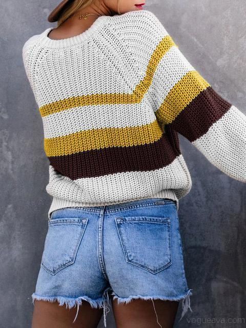 Striped Round Neck Pullover Sweater