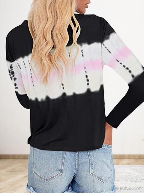 Tie-dye Print Button Long Sleeve T-shirt