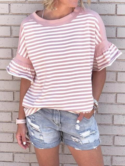 Striped Ruffle Sleeves Round Neck T-shirt
