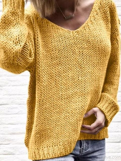 Solid Color V-neck Knitted Tops