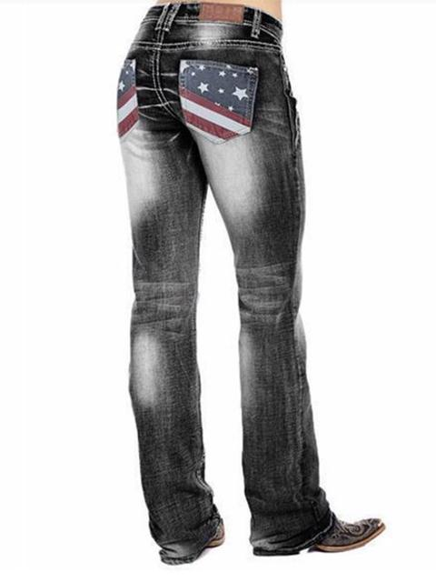 American Flag Stretch Washed Jeans