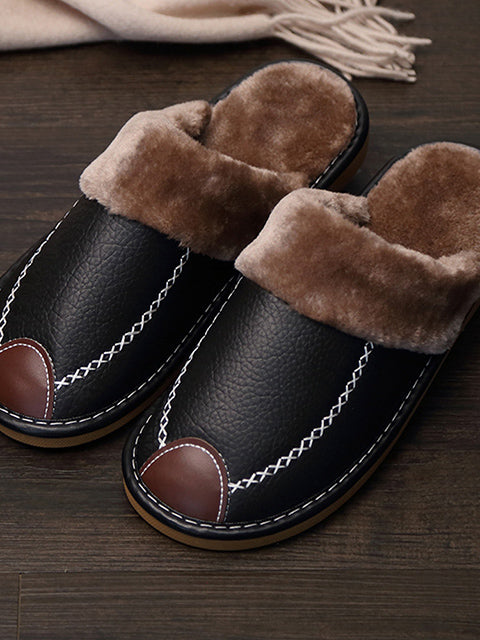 Warm Leather Slippers