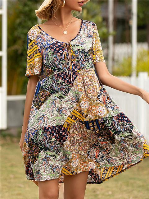 Bohemian Neckline Tie A-line Dress