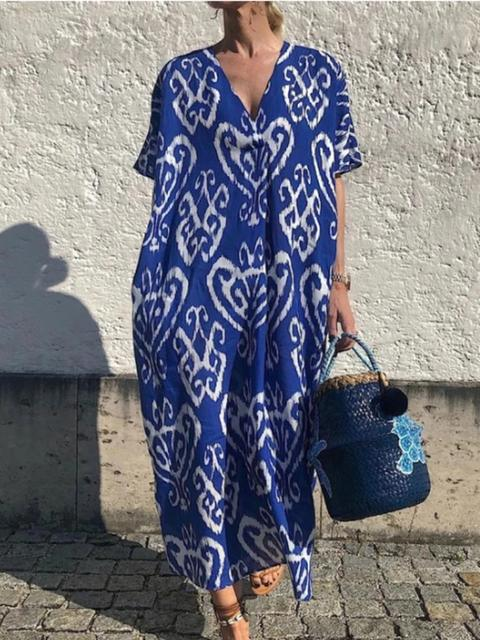 Boho Pattern Print V Neck Maxi Dress