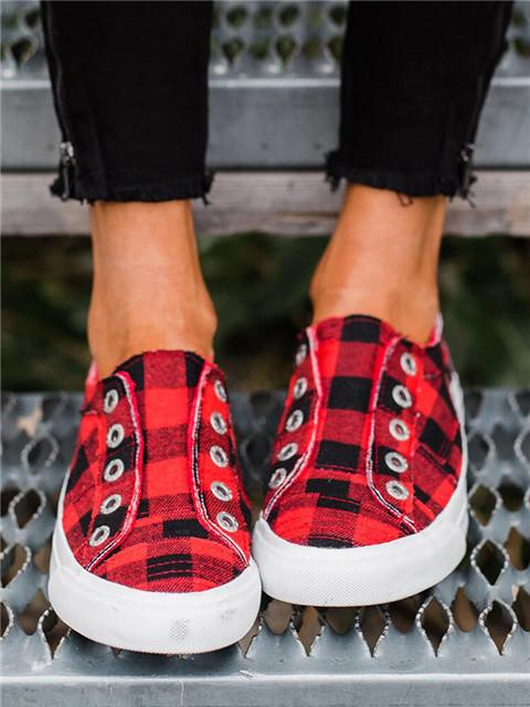 Plaid Round Toe Flat Sneakers