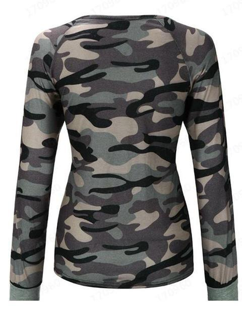 Camo V-neck Long-sleeved Sweatshirt