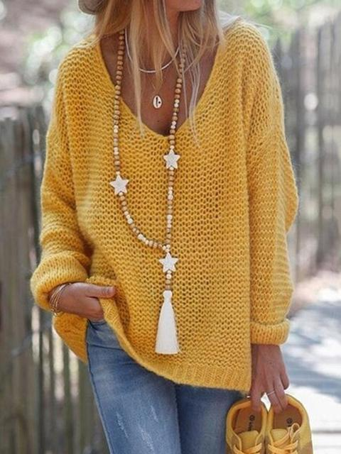 Casual Round Neckline Loose Shift Sweater