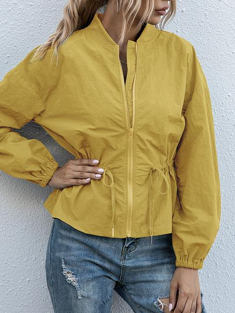 Casual Slim Solid Color Zipper Short Jacket
