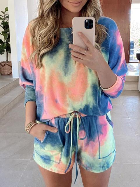 Casual Tie-dye Loog Sleeve Shorts Suit
