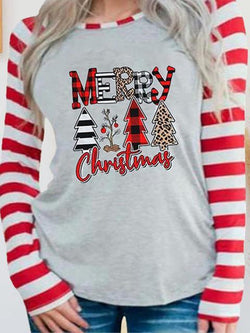 Christmas Print Striped Stitching Sleeve Top