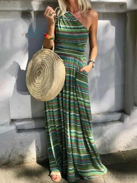Colorful Striped Diagonal Shoulder Maxi Dress