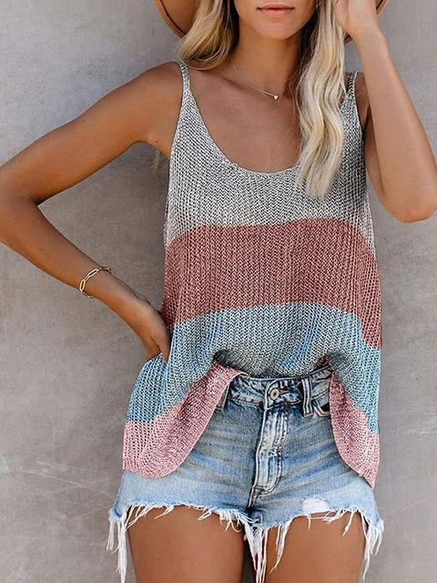 Contrast Color Knitted Round Neck Camisole