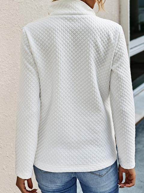 Contrast Lapel Pullover Sweatshirt With Pockets