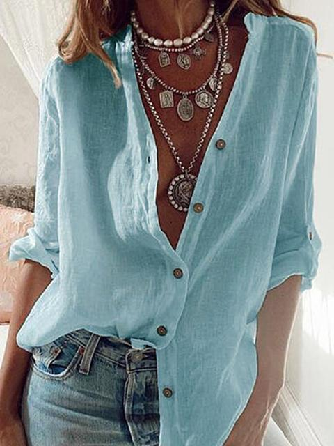 Cotton Linen Long Sleeve Shirt Blouse