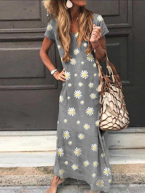 Daisy Print V Neck Loose Maxi Dress