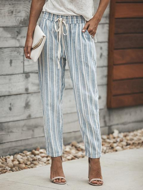Elastic Waist Striped Straight Pants