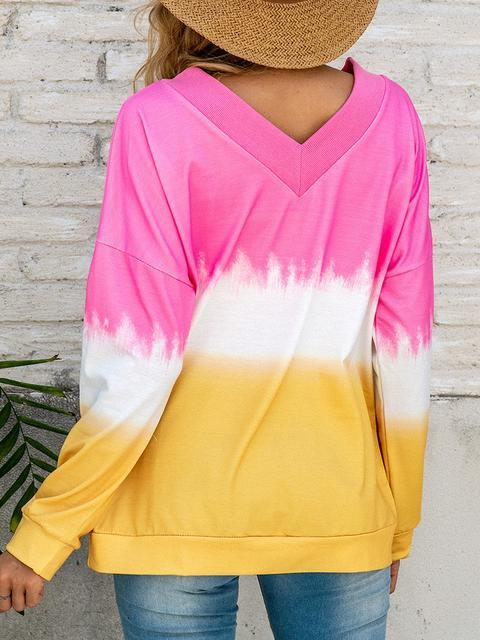 Gradient V-Neck Long Sleeve Top