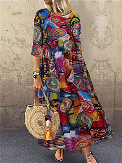 Graffiti Print Short Sleeve Maxi Dress
