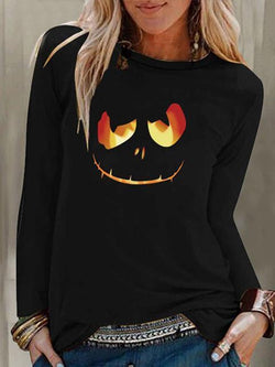 Halloween Pumpkin Lantern Print Top