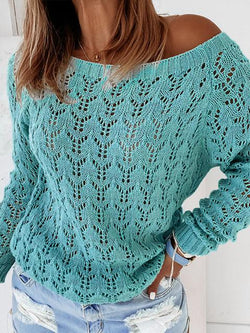 Hollow Round Neck Knit Sweater