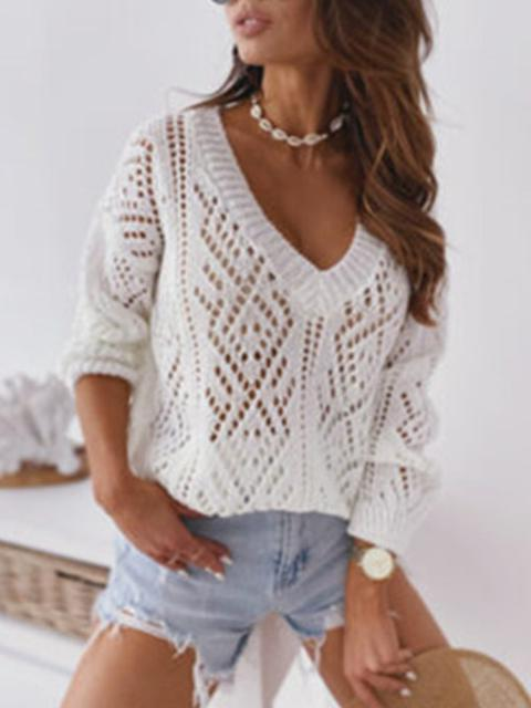 Hook Flower Hollow V-neck Sweater