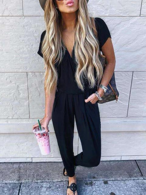 Solid Color Cross V-neck Jumpsuit