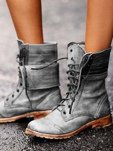 Lace-up Low Heel Martin Boots