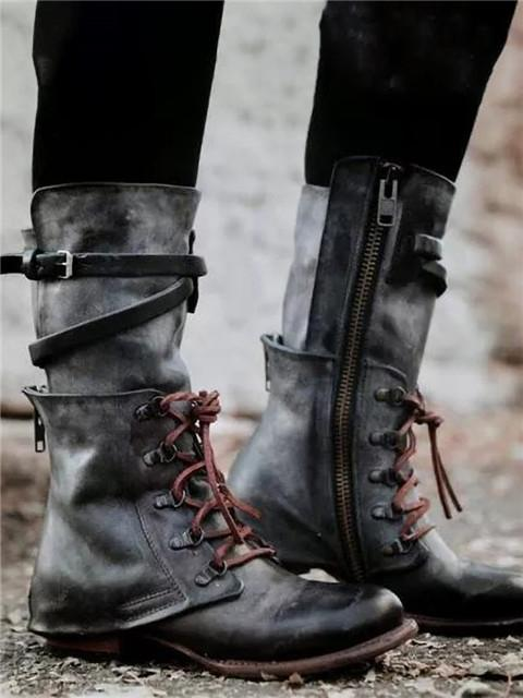 Lace-up Mid-Calf Boots Low Heel Boots