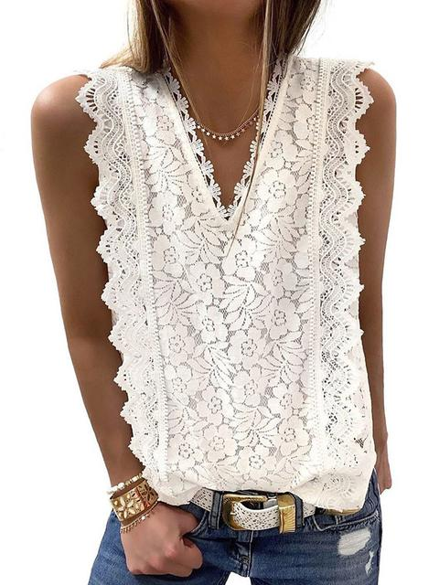 Lace Solid V-neck Sleeveless Top