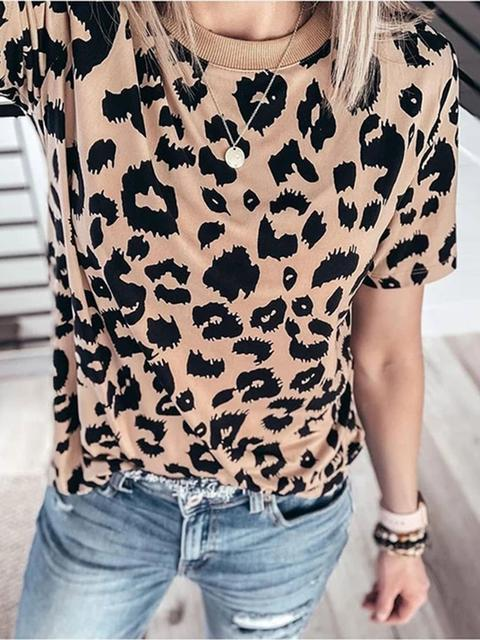 Leopard Pattern Crew Neck T-shirt