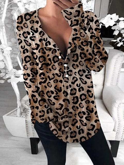 Leopard Pattern Long Sleeve Shirt Blouse