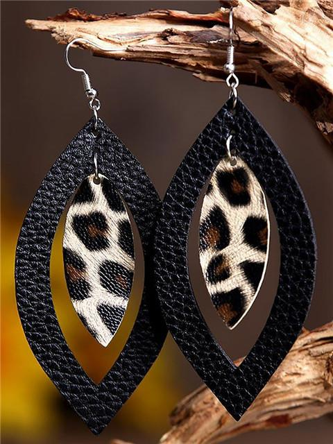 Leopard Print Hollow Out Leather Earrings