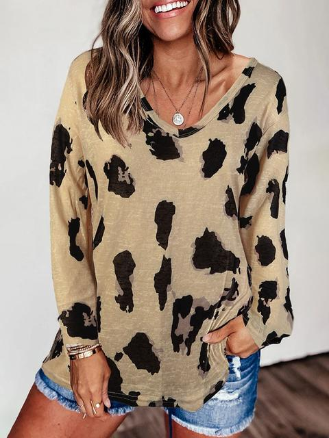 Leopard Print Long Sleeve Loose Pullover