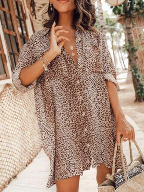 Leopard Print Mini Shirt Dress