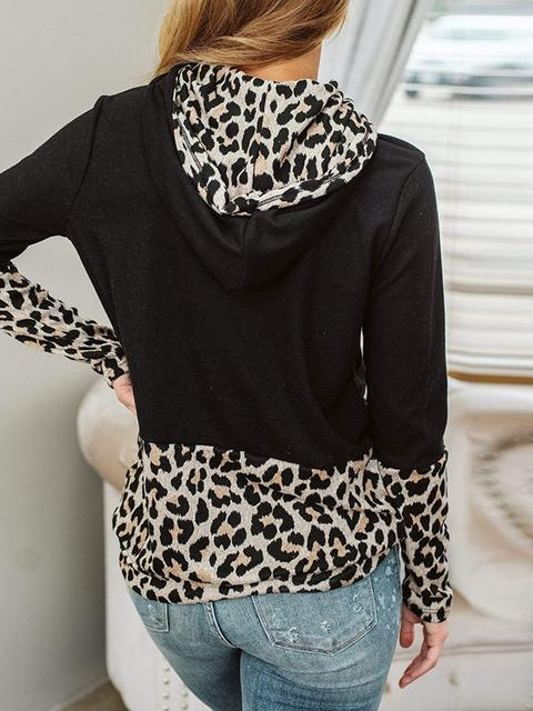 Leopard Print Stitching Long Sleeve Sweatshirt